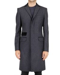Dolce & Gabbana | Gray Velvet Collar Panno Wool Coat for Men | Lyst