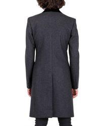 Dolce & Gabbana - Gray Velvet Collar Panno Wool Coat for Men - Lyst