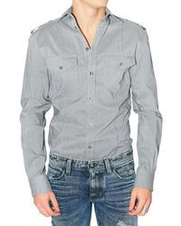 Dolce & Gabbana | Gray Shoulder Epaulettes Striped Poplin Shirt for Men | Lyst