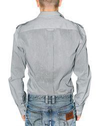 Dolce & Gabbana | Gray Shoulder Epaulettes Striped Poplin Shirt for Men | Lyst