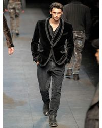 Dolce & Gabbana | Black Distressed Denim Piping Velvet Jacket for Men | Lyst