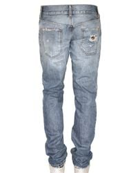 Dolce & Gabbana | Blue 18cm Gold Destroyed Washed Denim Jeans for Men | Lyst