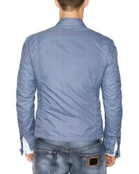 Dolce & Gabbana - Blue Washed Nappa Inserts Nylon Sport Jacket for Men - Lyst