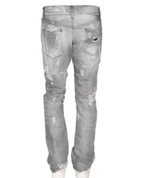 Dolce & Gabbana | Gray 19cm Gold Destroyed Denim Jeans for Men | Lyst
