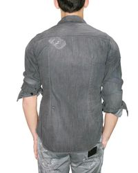 Dolce & Gabbana | Gray Darned and Washed Denim Shirt for Men | Lyst