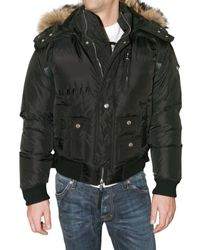 DSquared² | Black Fur Hooded Quilted Sport Jacket for Men | Lyst