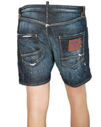 DSquared² - Blue Distressed Stretch Denim Shorts for Men - Lyst