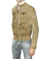 DSquared² - Natural Suede Multi Pocket Bomber Leather Jacket for Men - Lyst