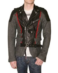 DSquared² | Gray Herringbone and Leather Jacket for Men | Lyst