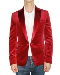 DSquared² | Red Satin Revere Velvet Slim Fit Jacket for Men | Lyst