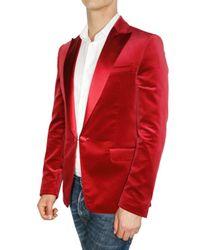 DSquared² - Red Satin Revere Velvet Slim Fit Jacket for Men - Lyst