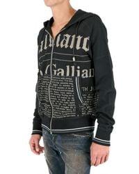 John Galliano - Black Gazette Zipped Fleece Sweatshirt for Men - Lyst