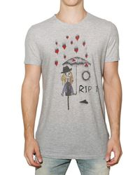 John Galliano | Gray Rip It Printed Jersey T-shirt for Men | Lyst