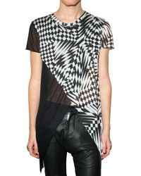 Gareth Pugh | Black Optical Modal Jersey Slit T-shirt for Men | Lyst
