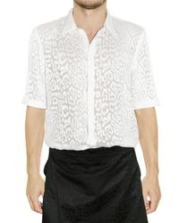 Givenchy - White Leopard Devore Silk Cotton Shirt for Men - Lyst