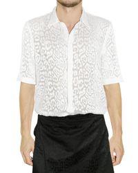 Givenchy | White Leopard Devore Silk Cotton Shirt for Men | Lyst