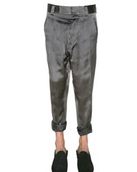 Haider Ackermann | Gray Striped Silk Satin Low Crotch Trousers for Men | Lyst