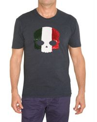 Hydrogen | Blue Sequined Skull Jersey T-shirt for Men | Lyst
