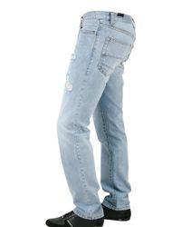 John Richmond - Blue 18 Cm Hem Destroyed Denim Jeans for Men - Lyst
