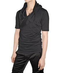 Kiryuyrik - Black Drape Collar Heavy Jersey T-shirt for Men - Lyst