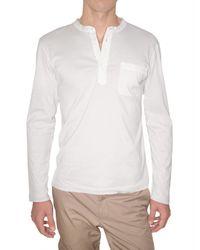 Lanvin | White Raw Cut Jersey Serafino T-shirt for Men | Lyst