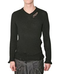 Miharayasuhiro | Black Destroyed Knit Sweater for Men | Lyst