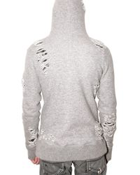 Miharayasuhiro - Gray Destroy Knit Sweatshirt for Men - Lyst