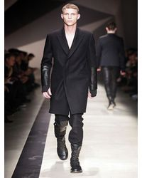 Neil Barrett | Black Leather and Flannel Coat for Men | Lyst