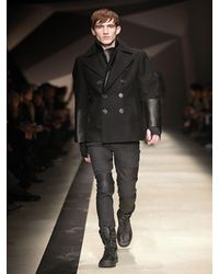 Neil Barrett - Black Leather and Virgin Wool Pea Coat for Men - Lyst