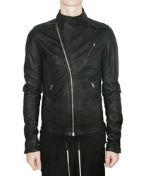 Rick Owens | Black Blistered Lambskin Biker Leather Jacket for Men | Lyst