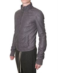Rick Owens - Gray Intarsia Leather Jacket for Men - Lyst