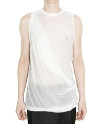 Rick Owens | White Sheer Silk Jersey Top for Men | Lyst