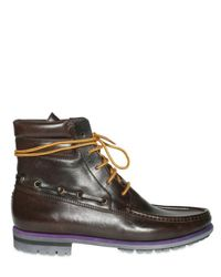 Sergio Rossi | Brown Grainy Calf Ankle Lace-up Boots for Men | Lyst