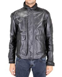 Tru Trussardi - Black Rain Stop Leather Jacket for Men - Lyst