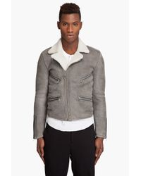 Marc Jacobs | Gray Shearling Motorcycle Jacket for Men | Lyst