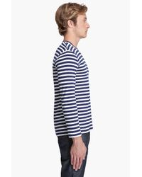 Play Comme des Garçons | Blue Cotton Jersey Border Red Emblem Shirt for Men | Lyst