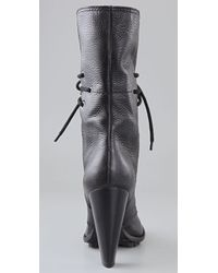 7 For All Mankind - Black Everly Lace Up Boots - Lyst