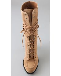 7 For All Mankind | Natural Everly Suede Lace Up Boots | Lyst