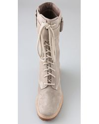 7 For All Mankind | Natural Gingerly Suede Combat Boots | Lyst