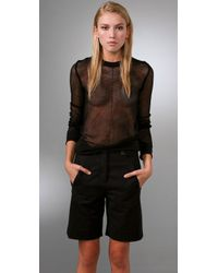 Alexander Wang | Black Mesh Long Sleeve Pullover Top | Lyst