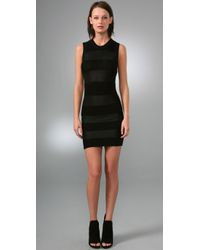 Alexander Wang - Black Shadow Stripe Mini Dress - Lyst