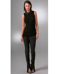 Alexander Wang - Black Sleeveless Top with Leather Collar - Lyst