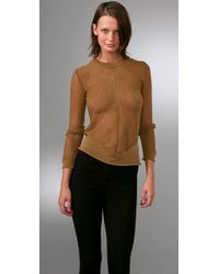 Alexander Wang | Metallic Mesh Long Sleeve Pullover Top | Lyst