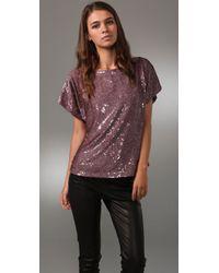 Alice + Olivia | Purple Keren Sequined Silk Top | Lyst