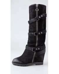 Ash - Black Story Suede Wedge Engineer Boots - Lyst