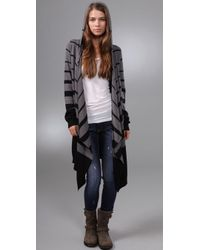 C&C California | Gray Striped Draped Cardigan | Lyst
