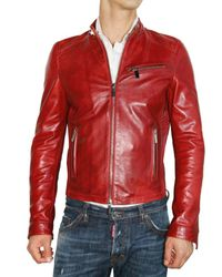 DSquared² | Red Horse Leather Biker Bomber Leather Jacke for Men | Lyst