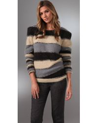Foley + Corinna | Black Striped Angora-blend Sweater | Lyst