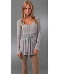 Free People - Gray Magic Carpet Ride Henley Tunic - Lyst