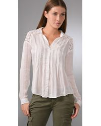 Free People - White Lace and Tucked Plaid Shirt - Lyst
